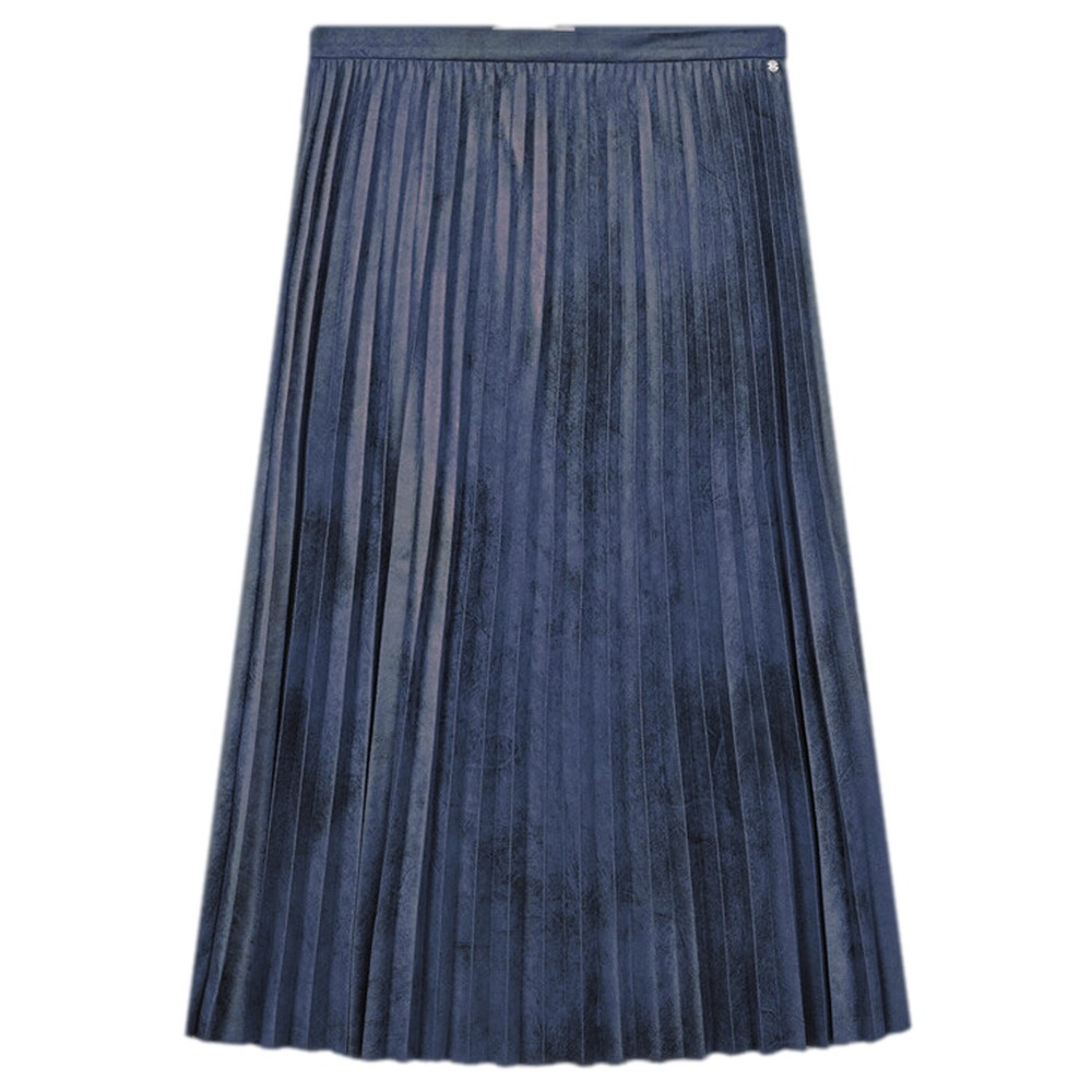 Sandwich Clothing Faux Suede Pleated Midi Skirt  Night Sky