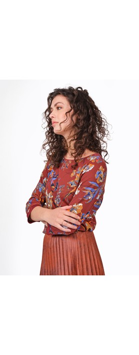 Sandwich Clothing Floral Print Jersey Top Fired Brick