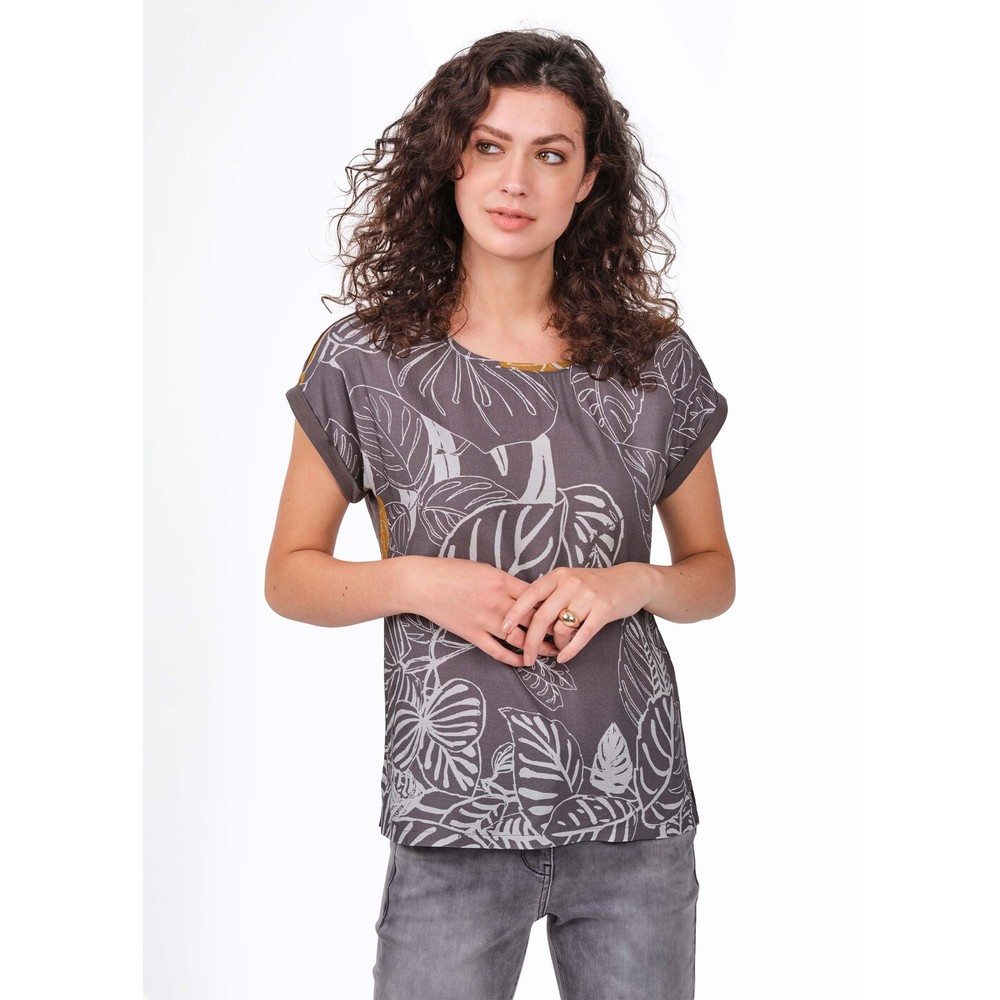 Sandwich Clothing Printed Short Sleeve Woven Top Grey Pearl