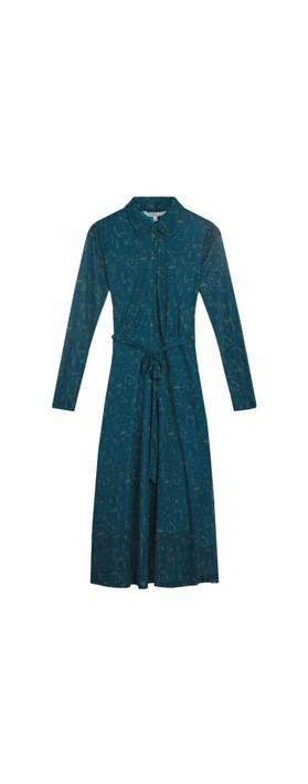 Sandwich Clothing Long Printed Jersey Dress  Deep Lagoon
