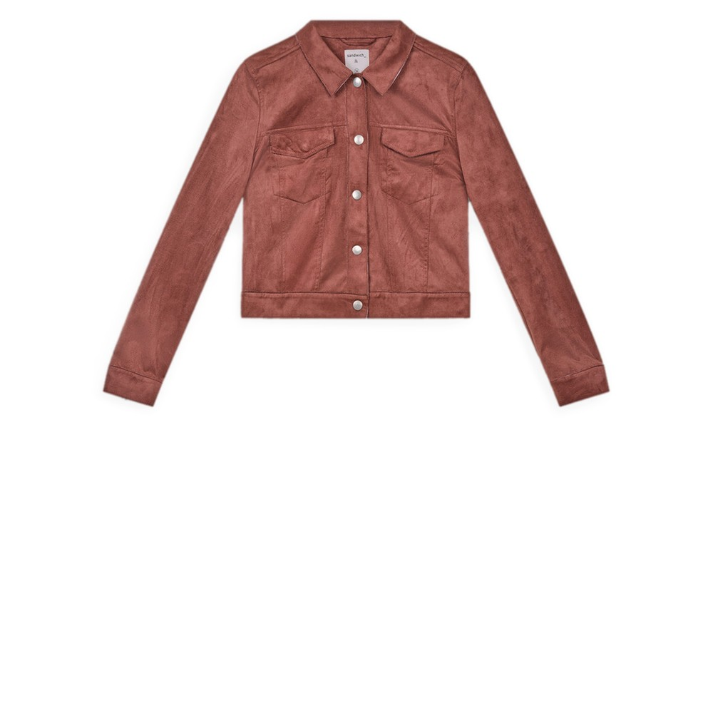 Sandwich Clothing Cropped Faux Suede Jacket  Soft Brown