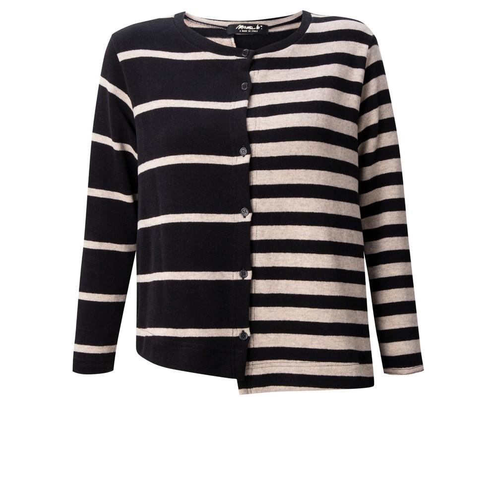 Mama B Inglese Tbiri Stripe Fleece Cardigan Nero / Marmo