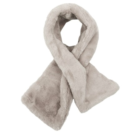 RINO AND PELLE Stip Super Soft Faux Fur Scarf - Silver