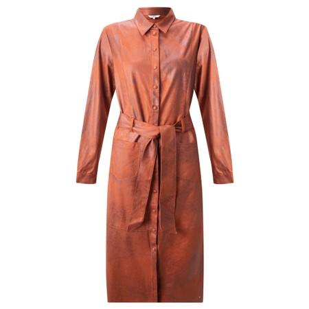 Sandwich Clothing Long Faux Suede Woven Dress - Orange