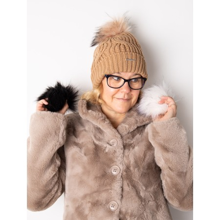 RINO AND PELLE Aaf Beanie Hat + 3 Interchangeable Faux Fur Poms - Brown