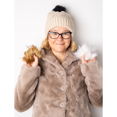 RINO AND PELLE Aaf Beanie Hat + 3 Interchangeable Faux Fur Poms - Beige