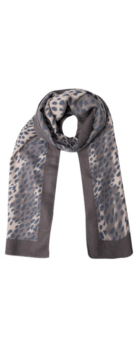 Gemini Label Accessories Dalian Leopard Print Scarf Charcoal