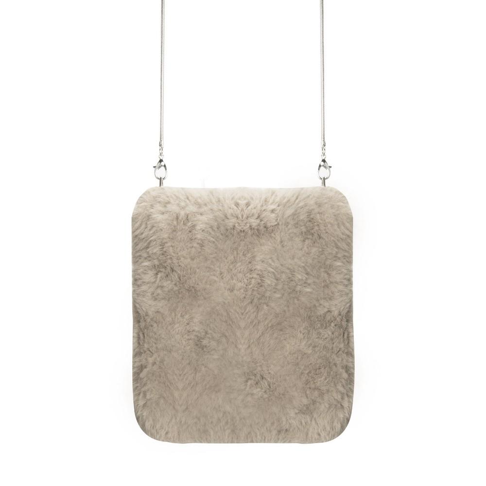 RINO AND PELLE Doxy Cross Body Faux Fur Bag Silver Cloud