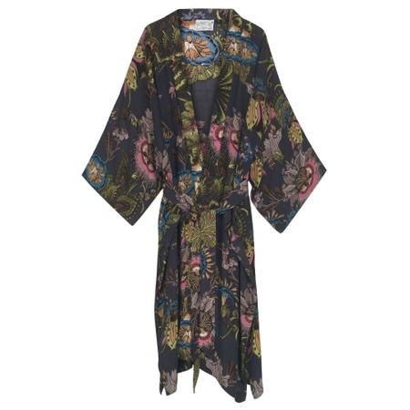 One Hundred Stars Eccentric Blooms Charcoal Crepe Long Kimono - Black