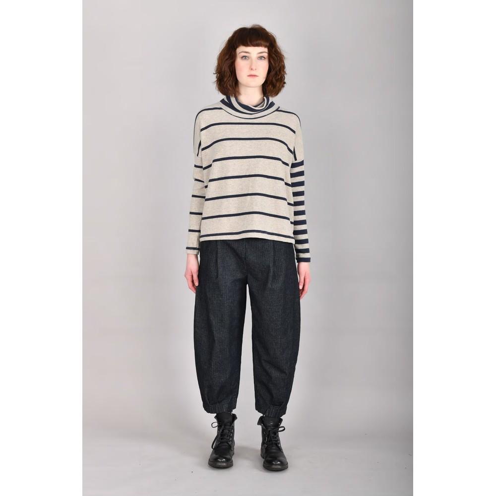 Mama B Monte Tbiri Stripe Fleece Jumper Blu / Marmo