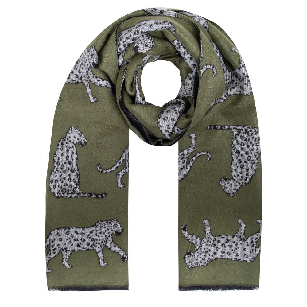 Gemini Label Accessories Atara Leopard Scarf Olive