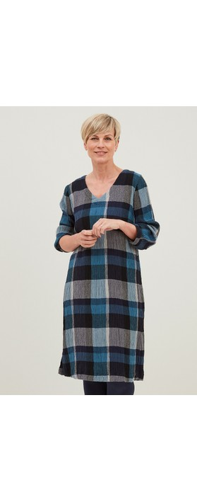 Adini Grace Woven Check Dress  Blue Multi