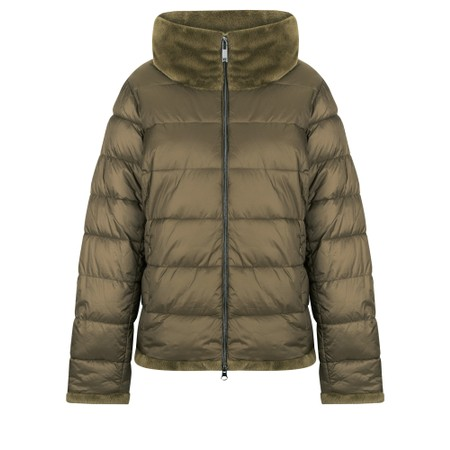 Frandsen Livvi Faux Fur Collar Short Jacket - Green