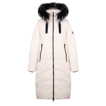 Frandsen Ingrid Fur Trim Hood Coat - White