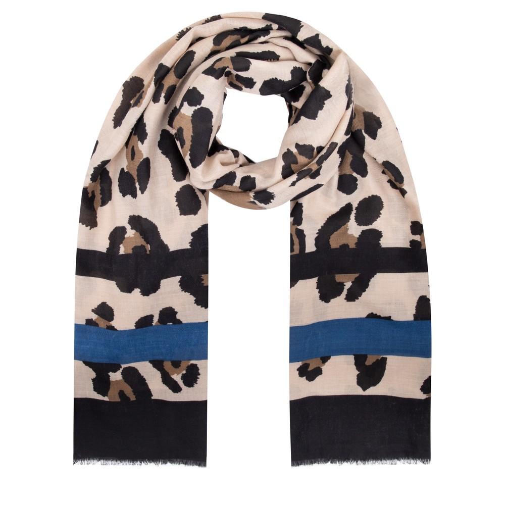 Gemini Label Accessories Jilin Leopard Print Scarf Blue
