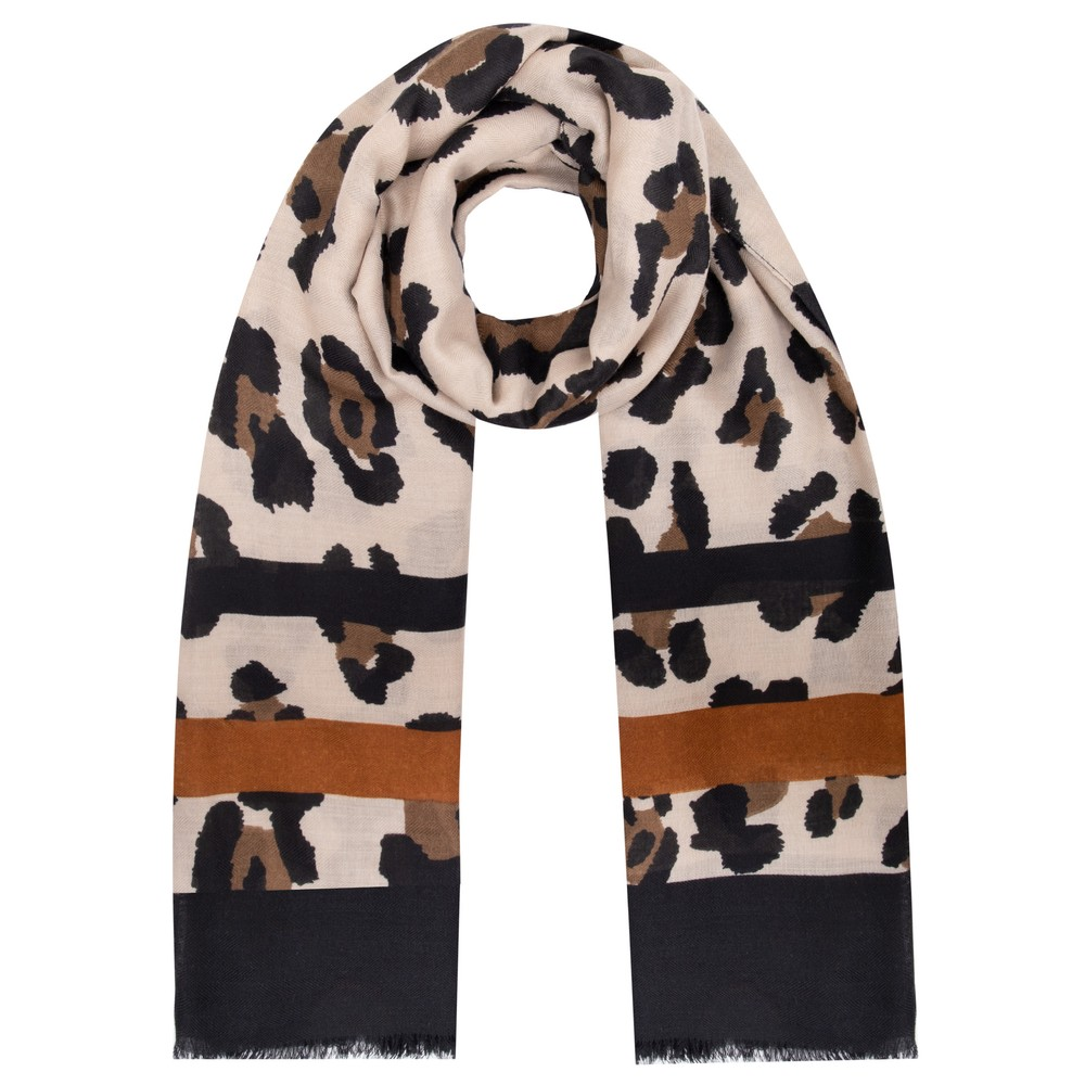 Gemini Label Accessories Jilin Leopard Print Scarf Brown