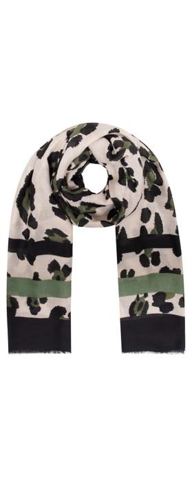 Gemini Label Accessories Jilin Leopard Print Scarf Olive