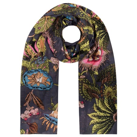 One Hundred Stars Eccentric Blooms Charcoal Scarf - Black