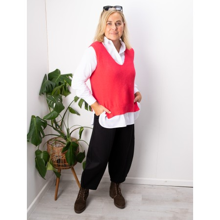 Amazing Woman Pixie V Neck Knitted Vest - Red