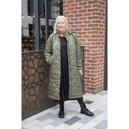 Frandsen Gudrun Hooded Longline Quilted Coat - Green
