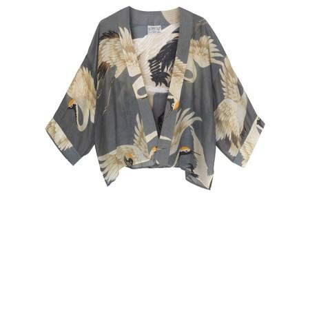 One Hundred Stars Stork Slate Grey Mini Kimono - Grey