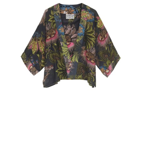 One Hundred Stars Eccentric Blooms Mini Kimono - Black