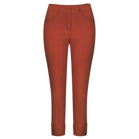 Robell Bella 09 Rust Ankle Length Crop Cuff Trouser - Orange