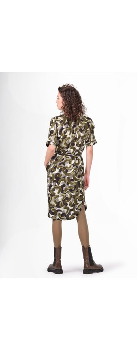 Sandwich Clothing Abstract Print Woven Dress Military Olive