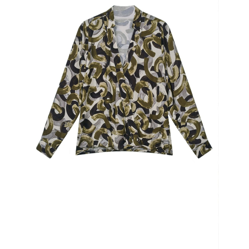 Sandwich Clothing Woven Crossover Blouse  Military Olive
