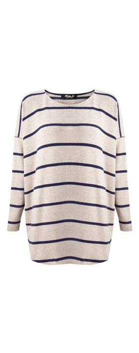 Mama B Sunny RG Wide Stripe Fleece Jumper Blu Mix-Blu / Marmo