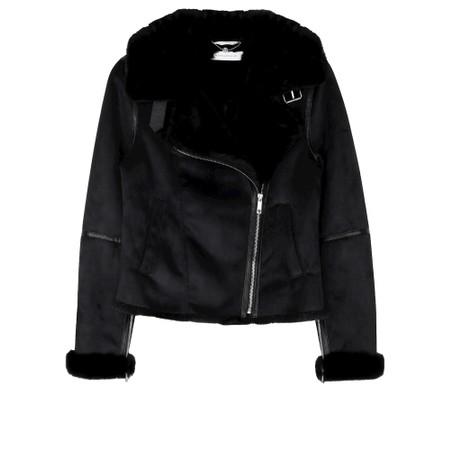 RINO AND PELLE Bacia Faux Suede Biker Jacket - Black