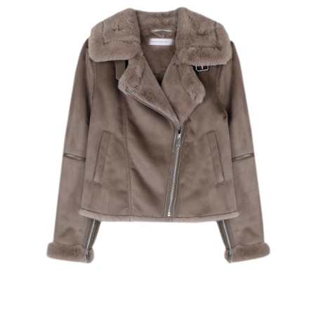RINO AND PELLE Bacia Faux Suede Biker Jacket - Silver