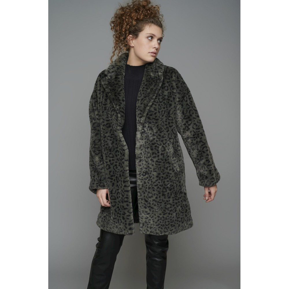 RINO AND PELLE Joela Faux Fur Coat Agate Leopard