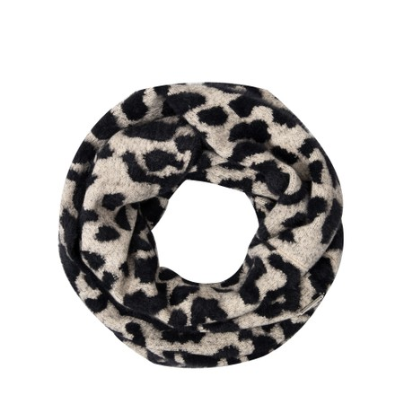 RINO AND PELLE Sawa Knitted Animal Print Snood - Beige