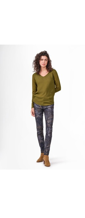 Sandwich Clothing Long Sleeve Contrast Front Top Military Olive