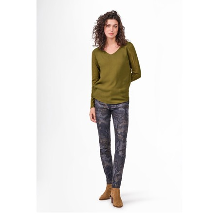 Sandwich Clothing Long Sleeve Contrast Front Top - Green