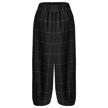 Mama B Pino S Qsant Cotton Check Trouser - Black