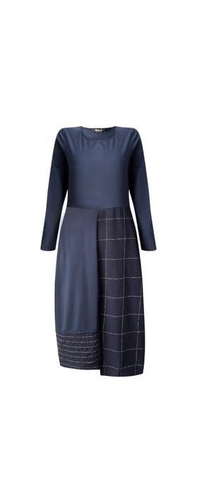 Mama B Panna Q Qsant Cotton Check Dress Blu / Marmo