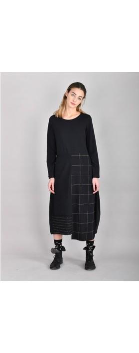 Mama B Panna Q Qsant Cotton Check Dress Nero / Marmo