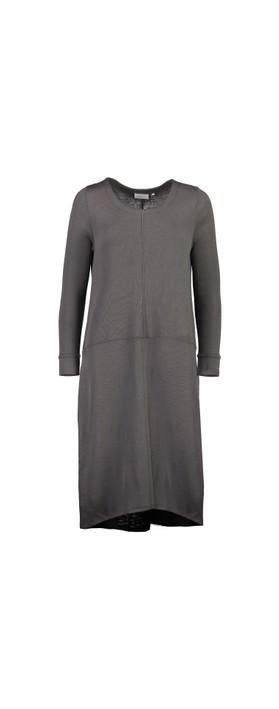 Foil Splitting Sides Dress Pewter