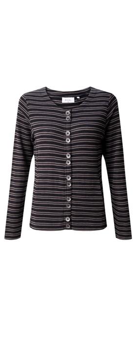 Foil Stitched Up Cardi Black / Pewter Stripe
