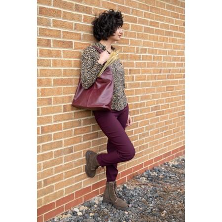 Robell Bella Aubergine 78cm Slim Fit Full Length Trouser - Purple