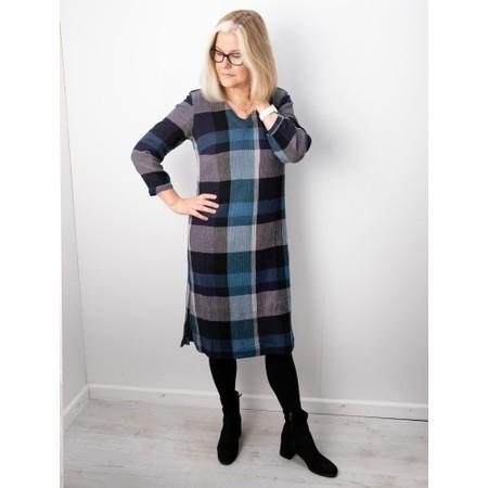 Adini Grace Woven Check Dress  - Blue