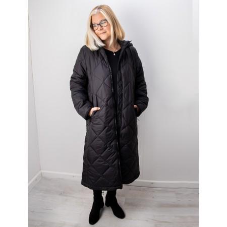 Frandsen Gudrun Hooded Longline Quilted Coat - Black