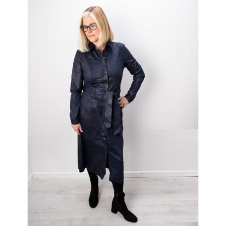 Sandwich Clothing Long Faux Suede Woven Dress - Blue