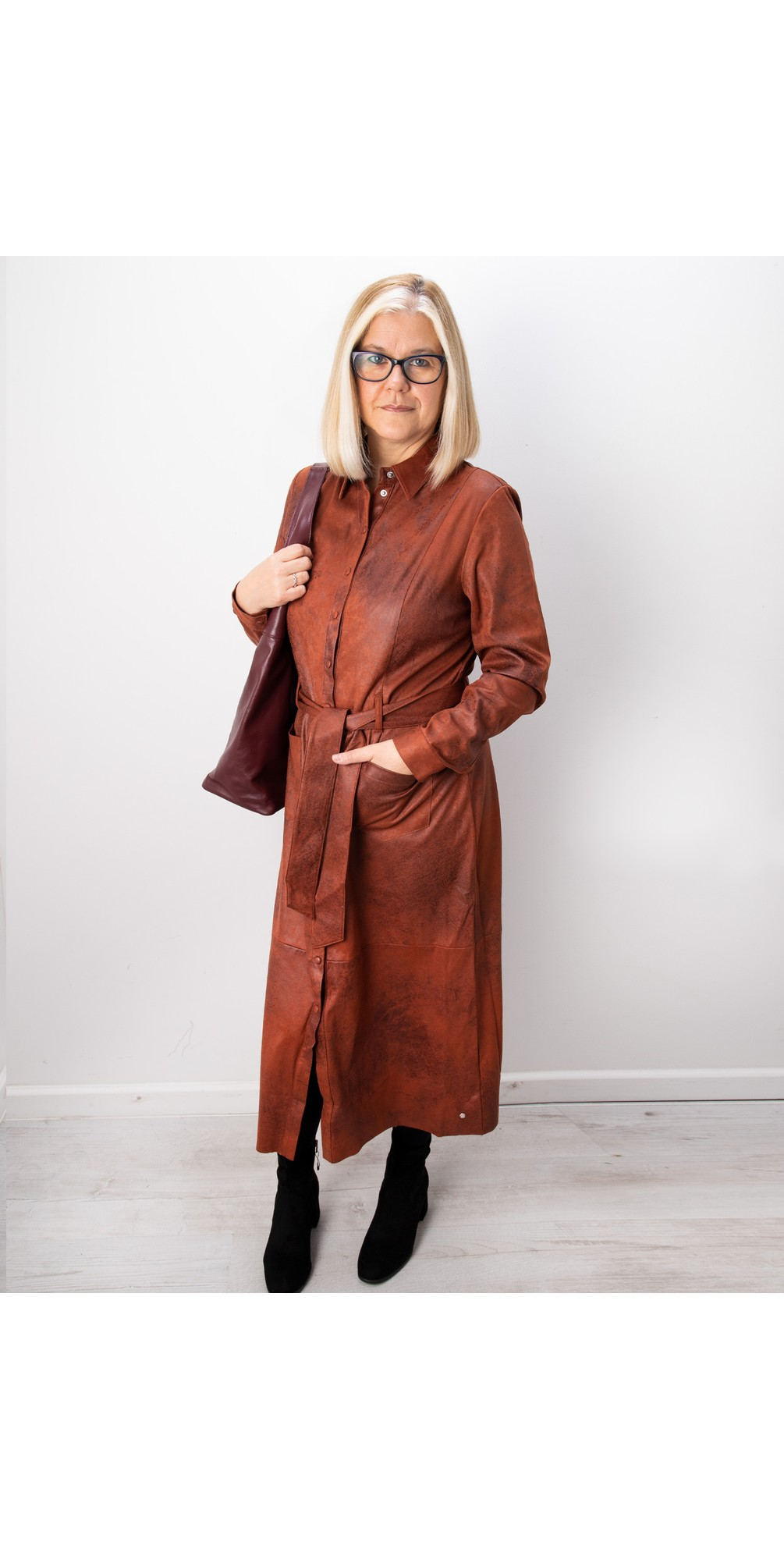 Long Faux Suede Woven Dress main image