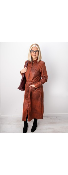 Sandwich Clothing Long Faux Suede Woven Dress Honey Ginger