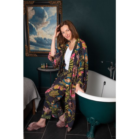 One Hundred Stars Eccentric Blooms Charcoal Crepe Lounge Pants - Black