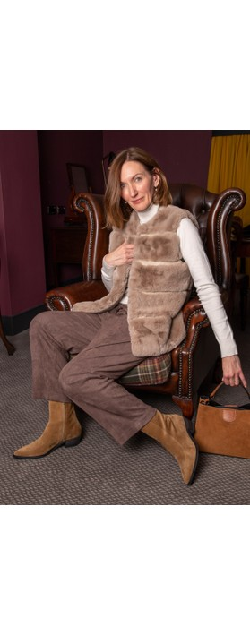 RINO AND PELLE Janay Faux Fur Gilet Silver Cloud