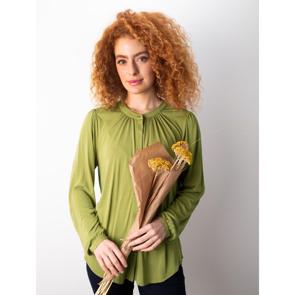 Sandwich Clothing Long Sleeve Jersey Blouse Green Moss
